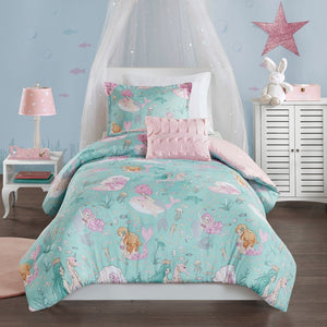 Seahorse & Mermaid Comforter Set Twin Full/Queen Girl Bedding Aqua Pink