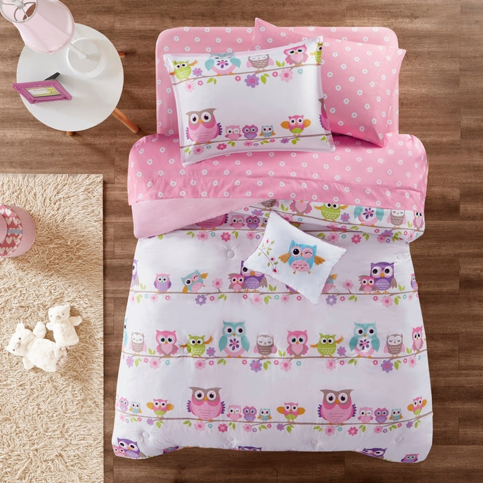 White Pink Owl Bedding Girls Twin Full Queen Comforter Bed in a Bag Set