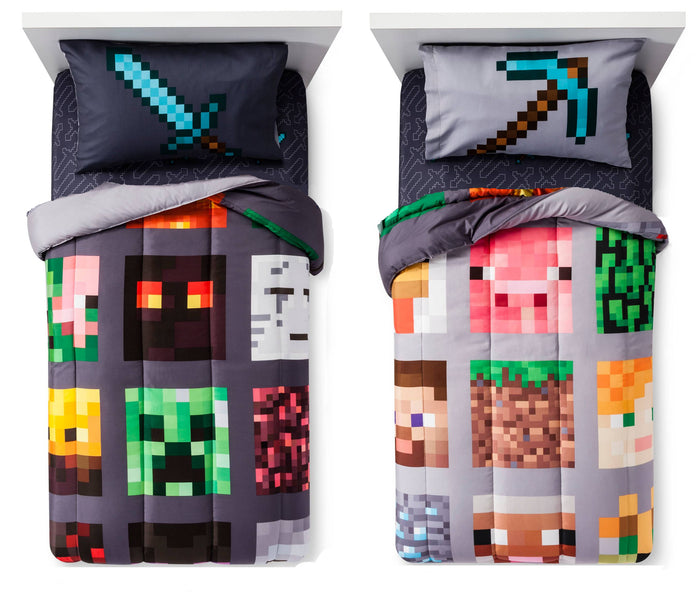Minecraft Bedding Sheets & Comforter Bed in a Bag Set Full Reversible 4-in-1 Grey Black