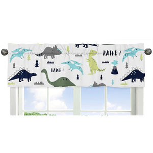 Rawr Blue Green Dinosaur Kids Window Valance