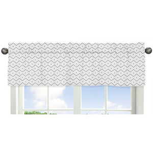 Grey White Chevron Zig Zag Print Window Valance