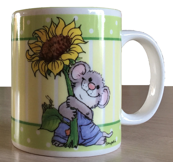 Suzy's Zoo Herkimer Mouse & Sunflower Vintage Collectible Ceramic Mug