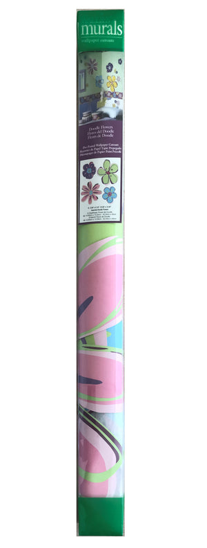 "Pink Purple & Blue 8 Doodle Flowers 5""-17"" Pre-Pasted Wall Mural Decals"