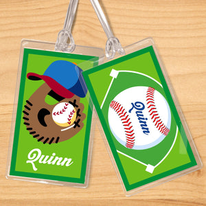 Baseball Personalized 2 PC Kids Name Tag Set