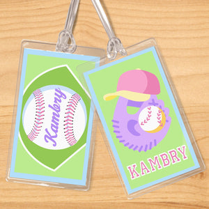 Softball Girl Personalized 2 PC Kids Name Tag Set