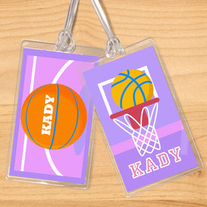 Basketball Girl Personalized 2 PC Kids Name Tag Set