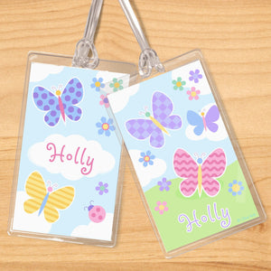 Butterfly Garden Personalized 2 PC Kids Name Tag Set