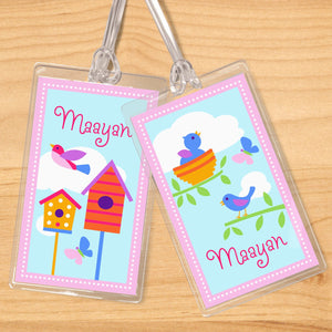 Spring Birds & Nests Personalized 2 PC Kids Name Tag Set
