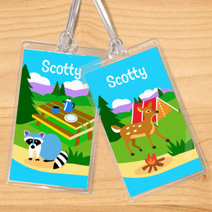 Camping Trip Personalized 2 PC Kids Name Tag Set