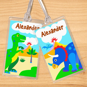 Dinosaur Land Personalized 2 PC Kids Name Tag Set