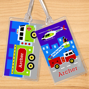 Rescue Heroes EMT Fire Truck Personalized 2 PC Kids Name Tag Set