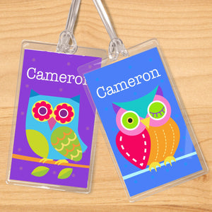 Owls Personalized 2 PC Kids Name Tag Set