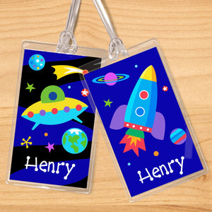 Outer Space Rockets Planets UFO Personalized 2 PC Kids Name Tag Set