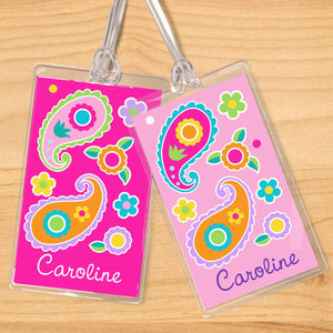 Paisley Floral Pink Personalized 2 PC Kids Name Tag Set