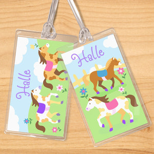 Pony Horses Personalized 2 PC Kids Name Tag Set