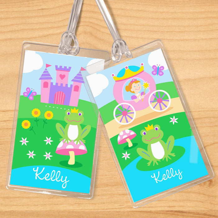 Princess Carriage & Castle Personalized 2 PC Kids Name Tag Set