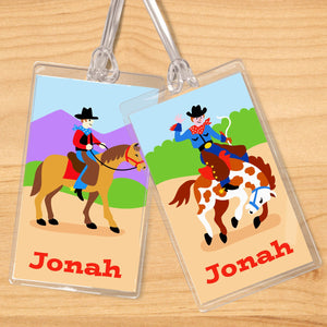 Western Cowboy Ride'Em Personalized 2 PC Kids Name Tag Set