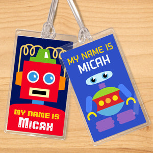 Robots Personalized 2 PC Kids Name Tag Set