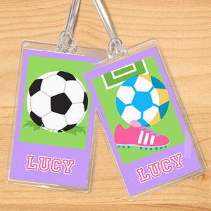 Soccer Girl Personalized 2 PC Kids Name Tag Set