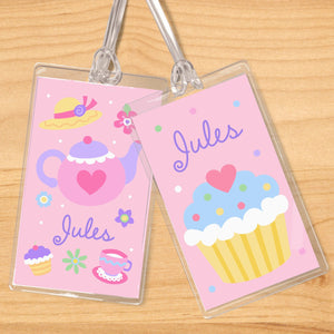 Girl Tea Party Pink Personalized 2 PC Kids Name Tag Set