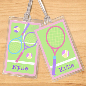 Tennis Girl Personalized 2 PC Kids Name Tag Set