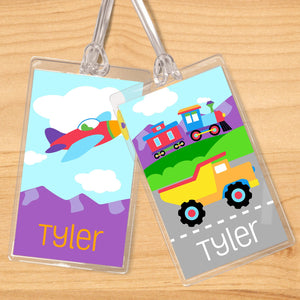 Trains Planes Trucks Personalized 2 PC Kids Name Tag Set