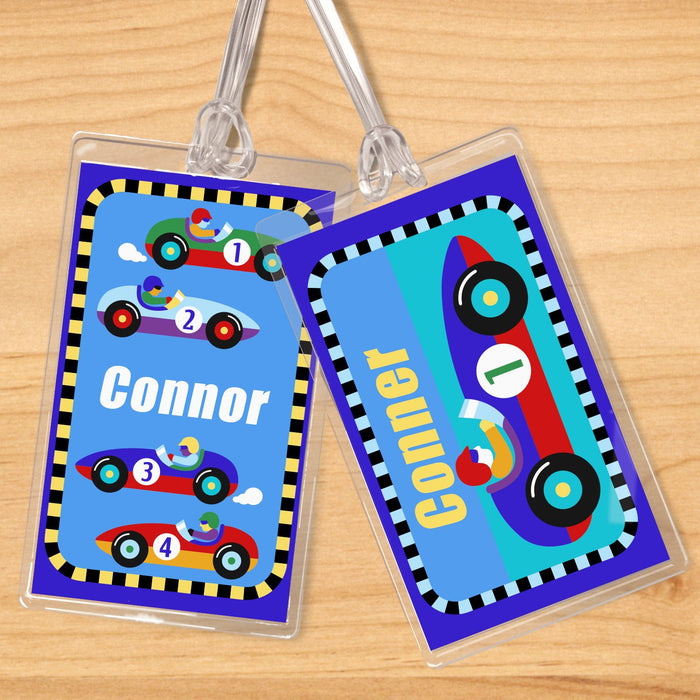 Sports Race Cars Personalized 2 PC Kids Name Tag Set