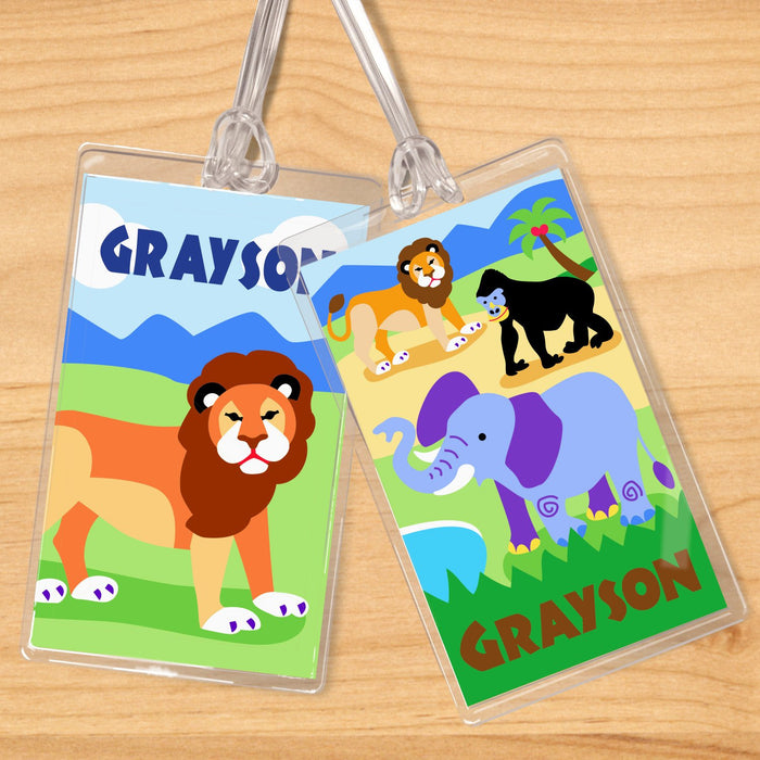 Wild Animals Lion Elephant Personalized 2 PC Kids Name Tag Set