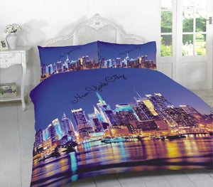 Nighttime New York City Bedding Blue Duvet/Comforter Cover Set Twin Full Queen King