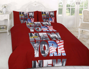Letters Red New York NYC BeddingDuvet/Comforter Cover Set Twin Full Queen King
