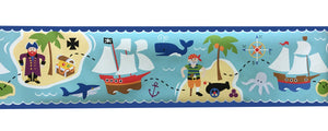"Pirates & Pirate Ships Wallpaper Border - 9"" Extra-Wide Wall Border Olive Kids"