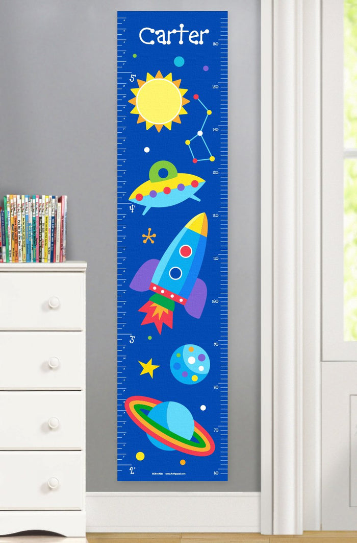 Galaxy Outer Space Planets & Rocket Height Personalized Growth Chart Self-Adhesive or Canvas