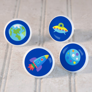 Kids Outer Space Planets Rocket 4pc Ceramic Drawer Knobs Set 1 1/2""