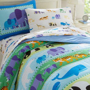 Endangered Wild Animals Cotton Comforter Set Toddler Twin Full/Queen Kids Bedding - Elephant, Panda, Whale