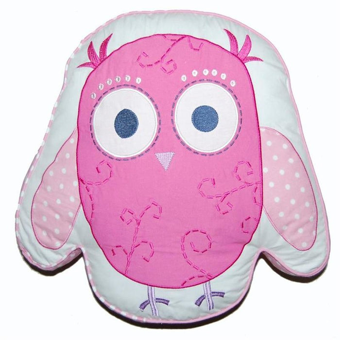 "Pink Owl Kids Decorative Throw Pillow Cotton 17"" x 16"""