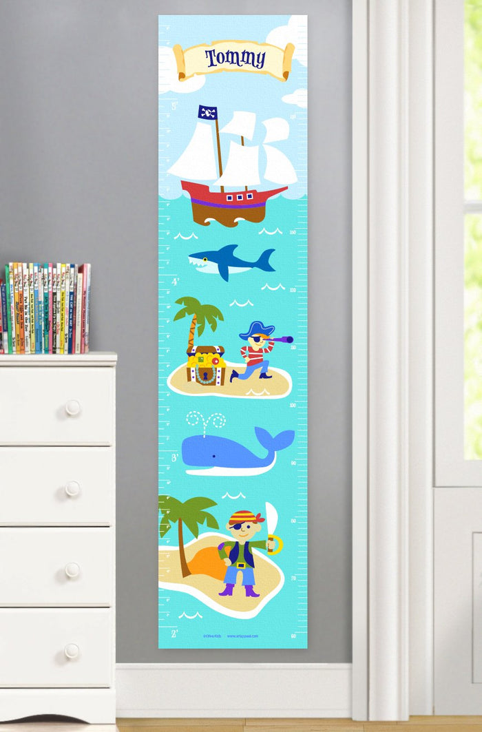 Pirates & Pirate Ships Height Personalized Growth Chart Self-Adhesive or Canvas