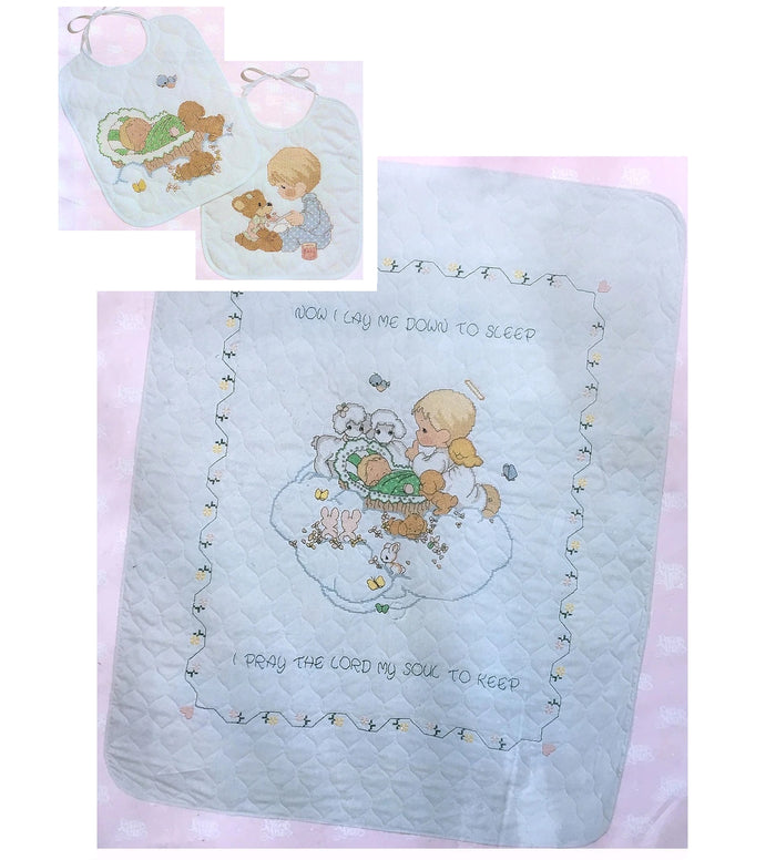 "Precious Moments Counted 2-Piece Cross Stitch Kits - Baby's Arrival Stamped Keepsake Nursery Crib Quilt 34"" x 43"" & Bib Set"