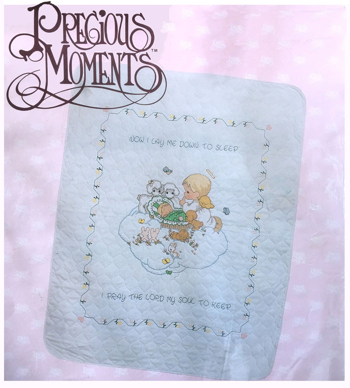 "Precious Moments Counted Cross Stitch Kit Baby Arrival Stamped Keepsake Quilt 34"" x 43""Unfinished"