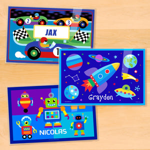 "Boy Kids Personalized Placemat Set of THREE 18"" x 12"" - Race Car Robot Space Rocket"