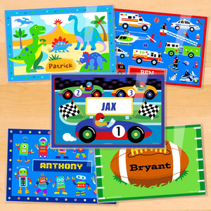 "Boys Personalized Placemat Set of FIVE 18"" x 12"" - Dinosaurs Heroes Robots Race Car Football"