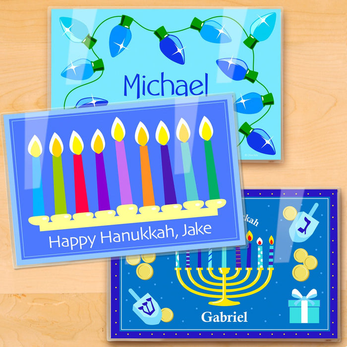 "Happy Hanukkah Kids Personalized Placemat Set of THREE 18"" x 12"""