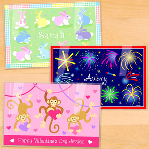 "Holidays Kids Personalized Placemat 3pc Set 18"" x 12"" - Easter Valentine 4th of July"