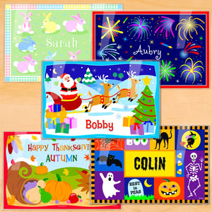 "Holidays Personalized Placemat Set of FIVE 18"" x 12"" - Easter 4th of July Halloween Thanksgiving Christmas"