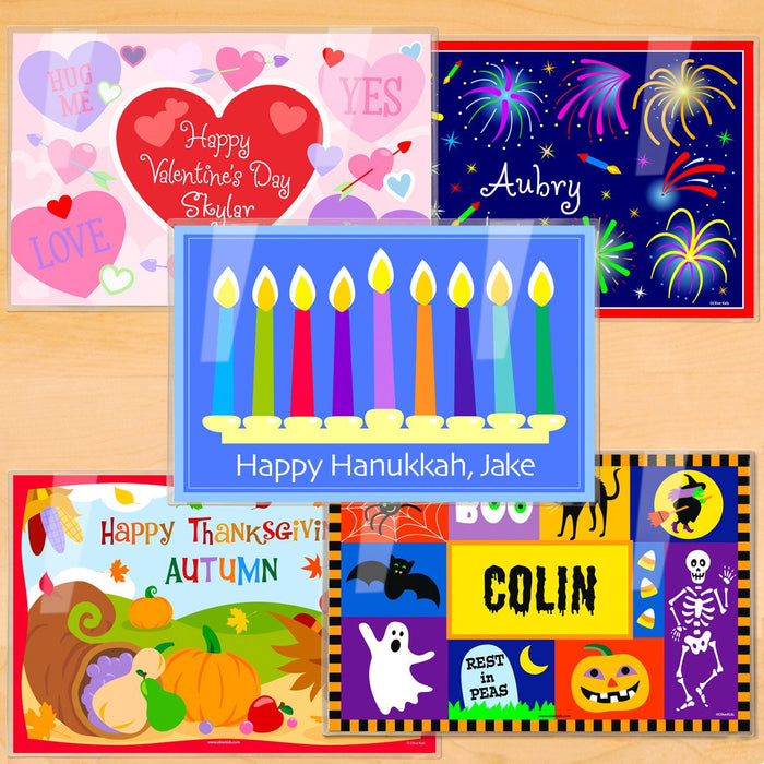 "Hanukkah / Holidays Kids Personalized Placemat Set of FIVE 18"" x 12"" - Valentine 4th of July, Hanukkah Thanksgiving Halloween"