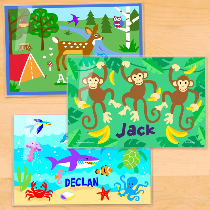 "Nature Kids Personalized Placemat Set of THREE 18"" x 12"" -Jungle Monkeys Ocean Fish Woodland Deer"