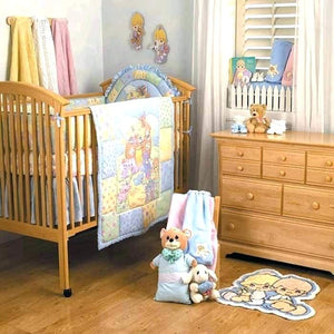 Vintage Precious Moments Noah's Ark 9pc Nursery Collection - Baby Crib Bedding Set, Musical Mobile, Wall Art, Accessory Set