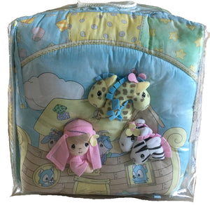 Vintage Precious Moments Noah's Ark 6pc Nursery Collection - Baby Crib Bedding Set, Musical Mobile, Wall Art