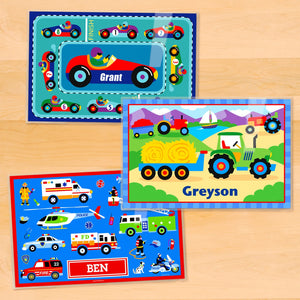 "Transportation Boy Kids Personalized Placemat Set of THREE 18"" x 12"" - Cars Trucks Rescue Police Fire Truck"