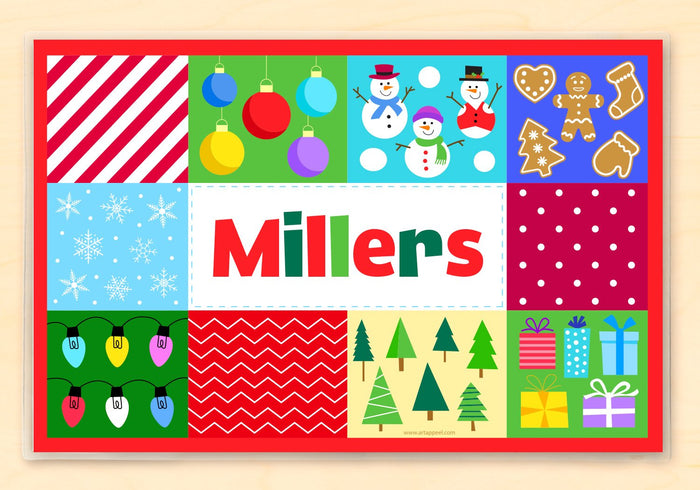 "Christmas Patchwork Personalized Placemat 18"" x 12"" with Alphabet"