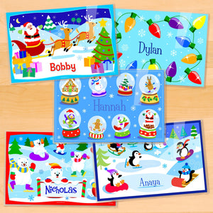 "Christmas Kids Personalized Placemat Set of FIVE 18"" x 12"" - Santa Claus Christmas Lights Penguins Polar Bears"